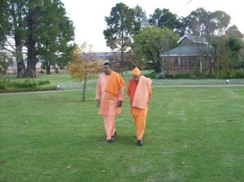 Swami Smarananandaji with Swami Saradanandaji at Newcastle in deep discussion