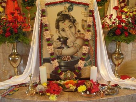 Ganesha at the temple altar of Ramakrishna Centre of SA, Durban