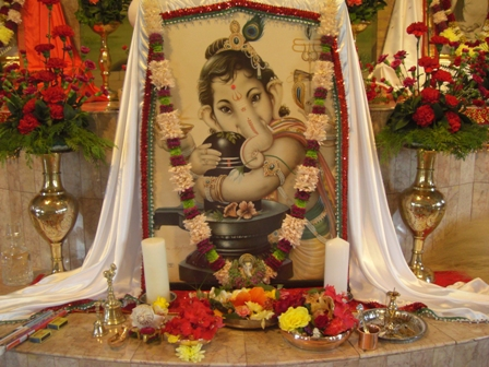 Ganesha at the temple altar of Ramakrishna Centre of SA, Durban