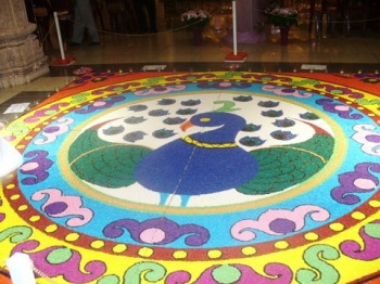 Diwali Rangoli at Swaminarayan Mandir at Johannesburg, prepared at 1047 woman-hours!