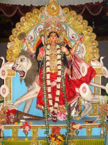 Jagaddhatri clay image used for worship at Ranchi Ramakrishna Mission TB Sanatorium