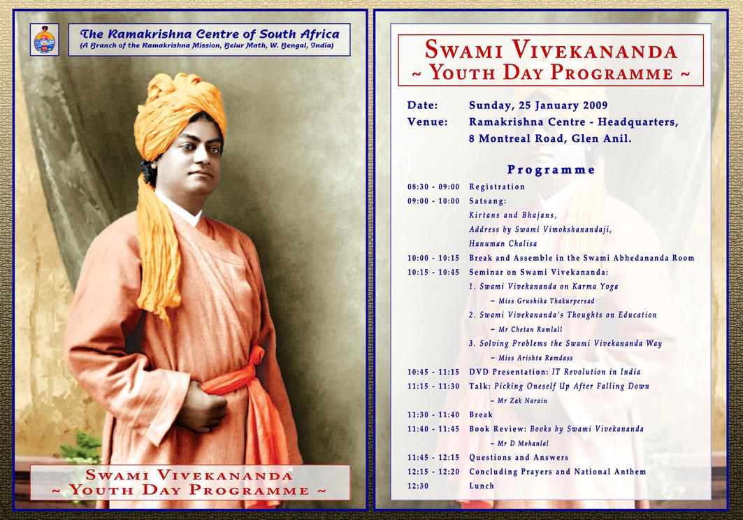 Youth Day Program in commemoration of Swami Vivekananda's 146th birth anniversary on 17th January, 2009 as per Hindu Lunar calendar