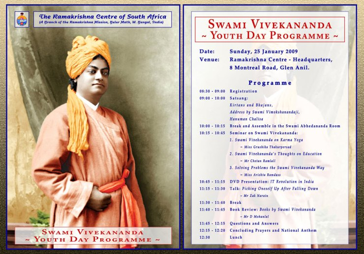 Youth Day Program in commemoration of Swami Vivekananda's 146th birth anniversary on 17th January, 2009 as per Hindu Lunar calendar