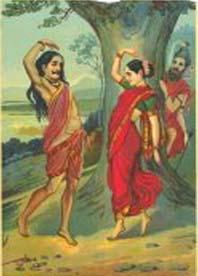 Mohini directing Bhasmasura in dance