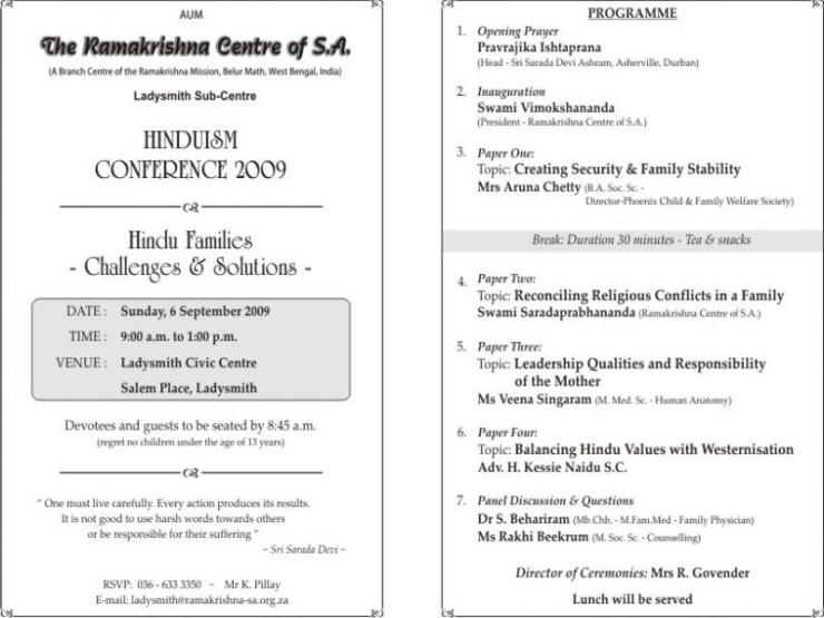 Annual Hinduism Conference 2009 - Inside Program page