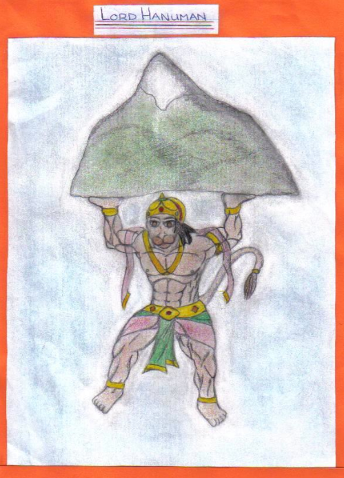 Inspired drawing - an Art work on Anjaneya