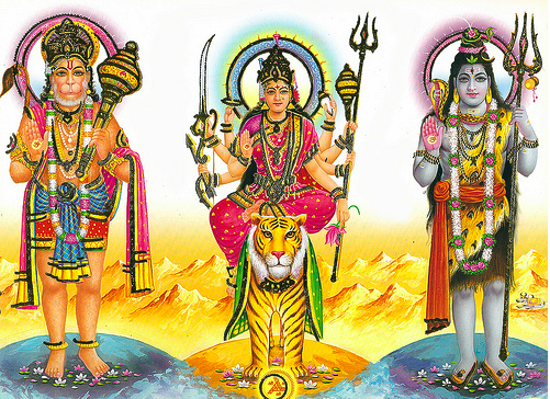 Sri Hanumanji with Sri Gauri-Shankarji - a rare picture