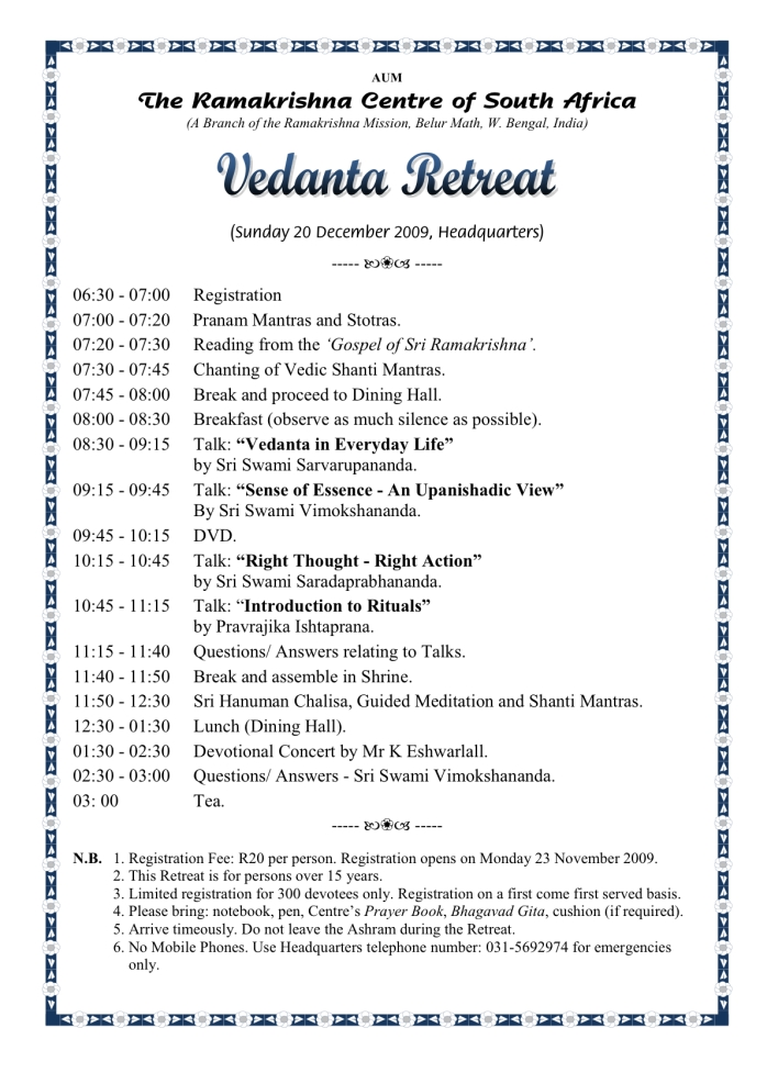 Vedanta Retreat December 2009