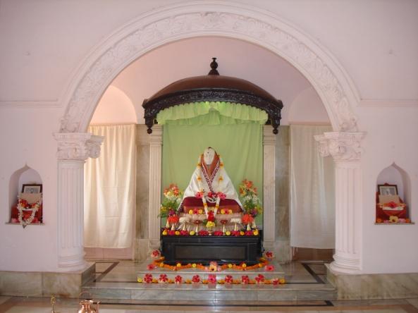 Holy Mother Sri Sarada Devi's marble image at the Temple sanctum sanctorum of Jayrambati Sri Matri Mandir ashram