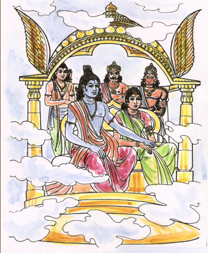 Sri Rama with Sita and Lakhshmana returning to Ayodhya by pushpak-vimaan