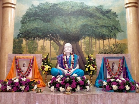 Altar of Sri Ramakrishna Temple...Draped in blue garment on the occasion of Gita Jayanti...