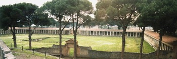 Pompeii gymnasium seen from the top of the stadium wall.