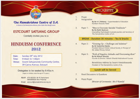 The official Invite for the Conference on Hinduism held at Estcourt, SA