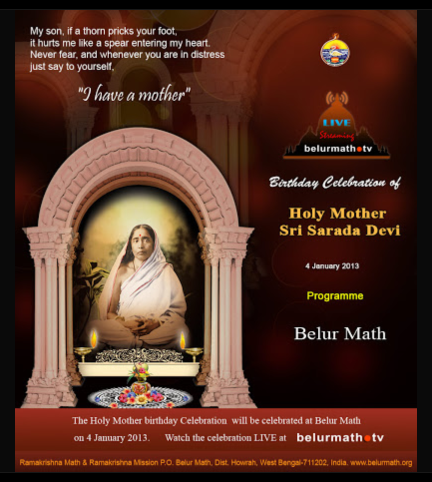 Live telecast streaming from Belur Math