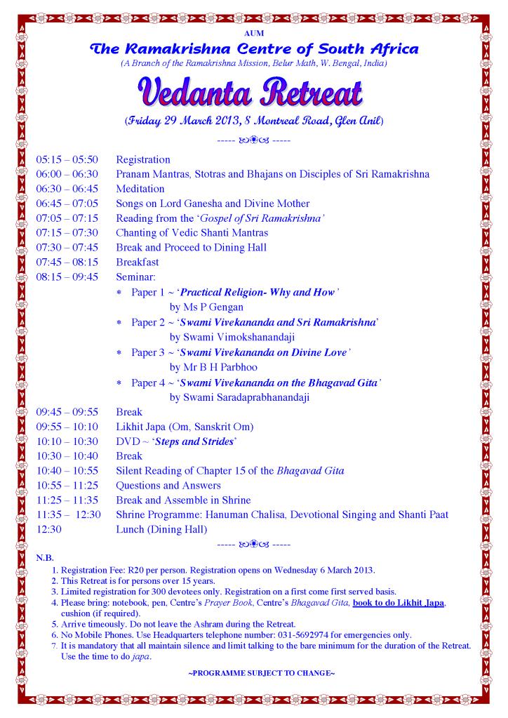 Vedanta Retreat 29 March 2013