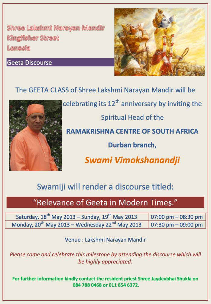 "Gita Lectures: ""Relevance of Gita in Modern Times"""
