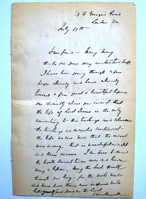 This is the unpublished letter of Swami Vivekananda
