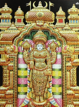 A replica in studded diamonds painting of Narayana as Balaji in Tirupati, the famous vaishnava sacred spot in South India. Courtesy: Sri Ramakrishna Vijayam, Chennai