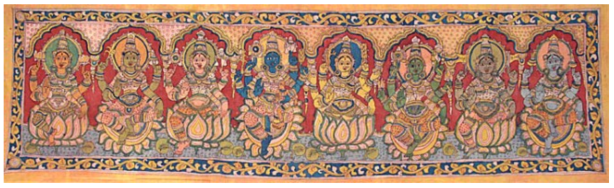 Kalamkari Painting on Cotton by Artist: M. Vishwanath Reddy - the National Award Winner... 70.5 inch X 20.0 inch