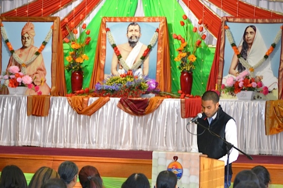 """Y Rugunandan, a youth speaker, delivered a message entitled """"Swami Vivekananda's Laws of Life""""."""