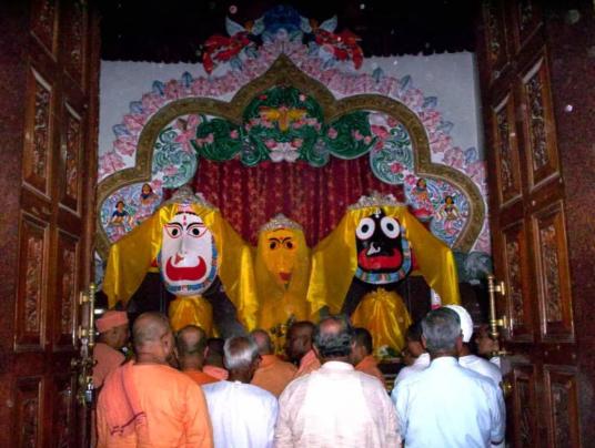 Sri Jagannatha Swami, the two siblings – Subhadra and Balabhadra at Ranchi Jagannatha Temple