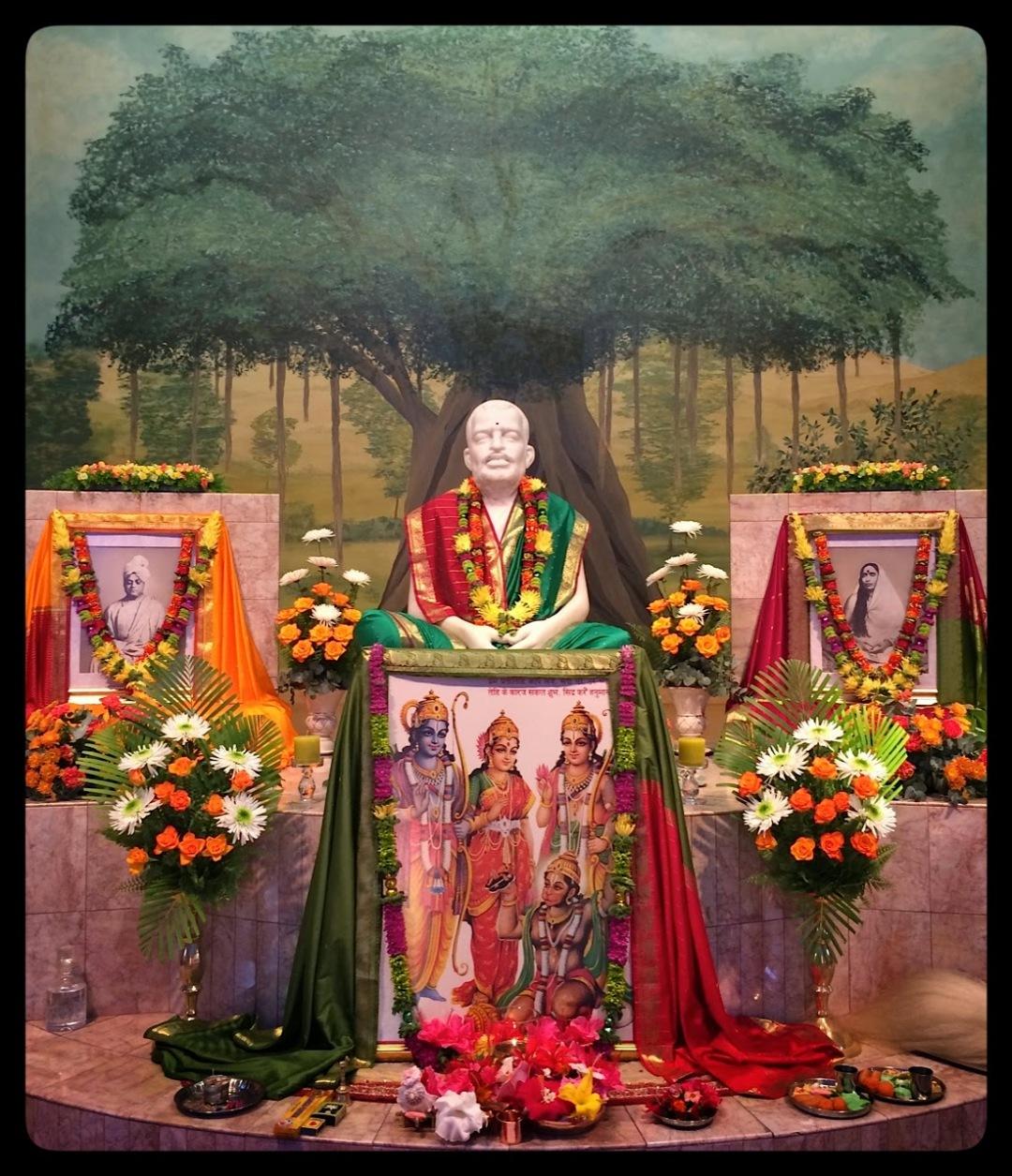 Sri Ramakrishna altar with picture of Sri Sita, Ram, Lakshmana and Hanuman