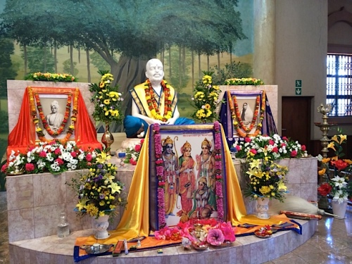 Today at Sri Ramakrishna altar Master as well as Rama adorned with yellow robes...
