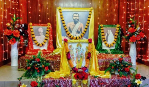 The Ramakrishna altar at the Pietermaritzburg Sub-centre tastefully decorated...image courtesy: Avitha