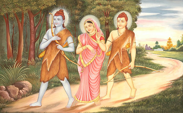 Sri Rama walking in the forest followed by Mother Sita and Lakshmana
